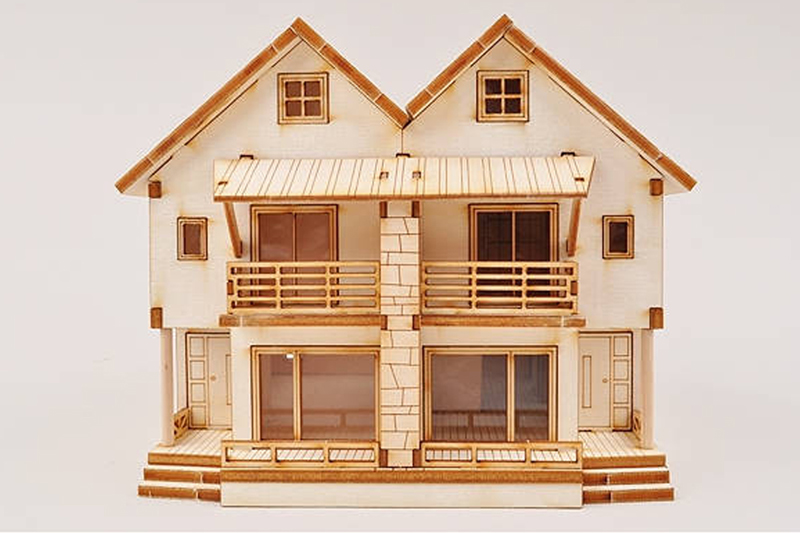 3d duplex wooden house model kit ho scale 1 87 miniature for Kit homes duplex