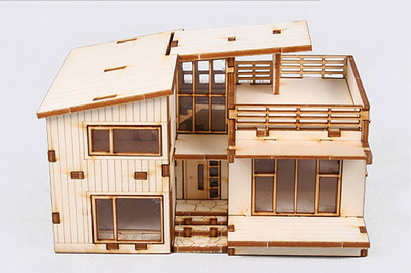 Modern style house wooden model kit ho 3d wood miniature series diorama gift toy ebay - Modern wood house models ...